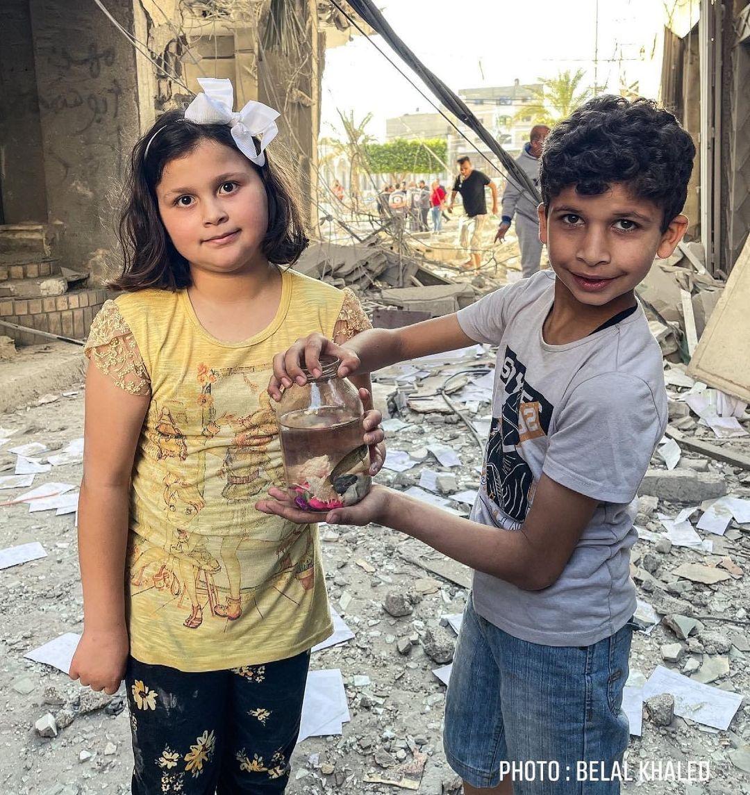 Berhasil Menyelamatkan Ikan Miliknya, Potret Kebahagiaan Kecil Anak Gaza